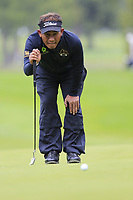 Thongchai Jaidee (THA) lines up his putt on the 1st green during Saturday's Round 3 of the 2017 Omega European Masters held at Golf Club Crans-Sur-Sierre, Crans Montana, Switzerland. 9th September 2017.<br /> Picture: Eoin Clarke | Golffile<br /> <br /> <br /> All photos usage must carry mandatory copyright credit (&copy; Golffile | Eoin Clarke)
