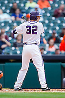 Jeremie Fagnan #32 of the Texas Christian Horned Frogs at bat against the Sam Houston State Bearkats at Minute Maid Park on February 28, 2014 in Houston, Texas.  The Bearkats defeated the Horned Frogs 9-4.  (Brian Westerholt/Four Seam Images)