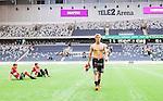 Stockholm 2014-06-08 Fotboll Superettan Hammarby IF - Landskrona BoIS  :  <br /> Landskronas Erik Andersson ser nedst&auml;md n&auml;r han g&aring;r av planen efter matchen<br /> (Foto: Kenta J&ouml;nsson) Nyckelord:  Superettan Tele2 Arena Hammarby HIF Bajen Landskrona BoIS depp besviken besvikelse sorg ledsen deppig nedst&auml;md uppgiven sad disappointment disappointed dejected