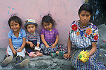 Mother and three children, Antigua, Guatemala, Central America,