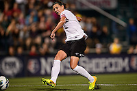 Portland Thorns forward Christine Sinclair (12) scores  the second goal of the game. The Portland Thorns defeated the Western New York Flash 2-0 during the National Women's Soccer League (NWSL) finals at Sahlen's Stadium in Rochester, NY, on August 31, 2013.