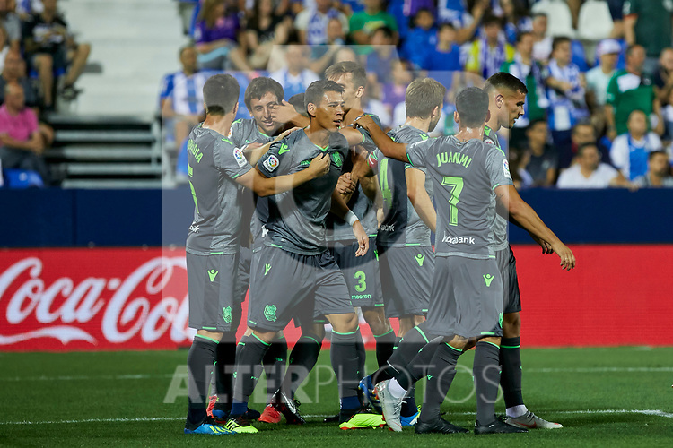 Real Sociedad's players celebrate goal during La Liga match. August 24, 2018. (ALTERPHOTOS/A. Perez Meca)