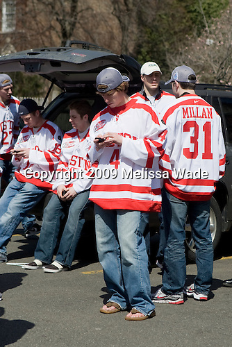 Vinny Saponari (BU - 27), Kevin Gilroy (BU - 16), David Warsofsky (BU - 5), Ryan Ruikka (BU - 4), Colby Cohen (BU - 25), Kieran Millan (BU - 31) - Boston University celebrated the Terrier's men's hockey national championship win with a parade starting from a parking lot at Commonwealth Avenue and Deerfield running to BU's Marsh Plaza where the Terriers were honored on stage before mingling with the fans.