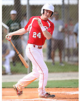 Matt Dunlevy, #24 of St. Christopher's High School, VA for the Richmond Braves Team during the WWBA World Championship 2013 at the Roger Dean Complex on October 25, 2013 in Jupiter, Florida. (Stacy Jo Grant/Four Seam Images)