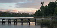 Dusk, sunset at Lake Mahinapua jetty, South Westland, West Coast, New Zealand, NZ