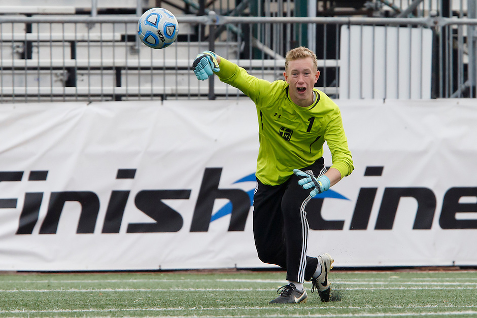 Marian keeper Hunter Renner advances the ball during the IHSAA Class A Boys Soccer State Championship Game on Saturday, Oct. 29, 2016, at Carroll Stadium in Indianapolis. Marian won 4-0. Special to the Tribune/JAMES BROSHER