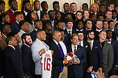 United States President Barack Obama (left) and Alabama Head Coach Nick Saban (right) stand for a photo with the team during a ceremony to honor the 2015- 2016 College Football Playoff National Champion Alabama Crimson Tide in the East Room at The White House in Washington, D.C., Wednesday, March 2, 2016.<br /> Credit: Rod Lamkey Jr. / Pool via CNP