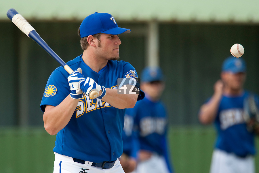 22 May 2009: Rhett Teller of Senart takes infield practice at bat during the 2009 challenge de France, a tournament with the best French baseball teams - all eight elite league clubs - to determine a spot in the European Cup next year, at Montpellier, France. Senart wins 7-1 over Montpellier.
