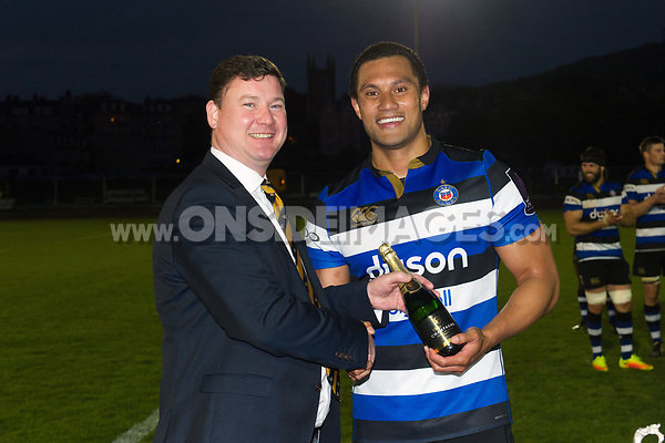 Men of the Match Robbie Fruean of Bath United poses for a photo after the match. Remembrance Rugby match, between Bath United and the UK Armed Forces on May 10, 2017 at the Recreation Ground in Bath, England. Photo by: Patrick Khachfe / Onside Images