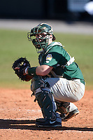 Siena Saints catcher John Rooney (4) during a game against the Central Florida Knights at Jay Bergman Field on February 16, 2014 in Orlando, Florida.  UCF defeated Siena 9-6.  (Mike Janes/Four Seam Images)