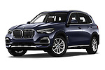 Stock pictures of low aggressive front three quarter view of a 2019 BMW X5 x Line 5 Door SUV