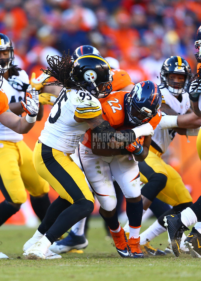 Jan 17, 2016; Denver, CO, USA; Pittsburgh Steelers linebacker Jarvis Jones (95) tackles Denver Broncos running back C.J. Anderson (22) during the AFC Divisional round playoff game at Sports Authority Field at Mile High. Mandatory Credit: Mark J. Rebilas-USA TODAY Sports