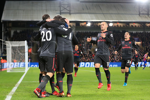 28th December 2017, Selhurst Park, London, England; EPL Premier League football, Crystal Palace versus Arsenal;  Shkodran Mustafi of Arsenal celebrates with team mates after scoring making it 0-1 in the 25t minute