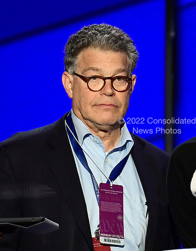 United states Senator Al Franken (Democrat of Minnesota) participates in a rehearsal prior to the opening session of the 2016 Democratic National Convention at the Wells Fargo Center in Philadelphia, Pennsylvania on Monday, July 25, 2016.<br /> Credit: Ron Sachs / CNP<br /> (RESTRICTION: NO New York or New Jersey Newspapers or newspapers within a 75 mile radius of New York City)