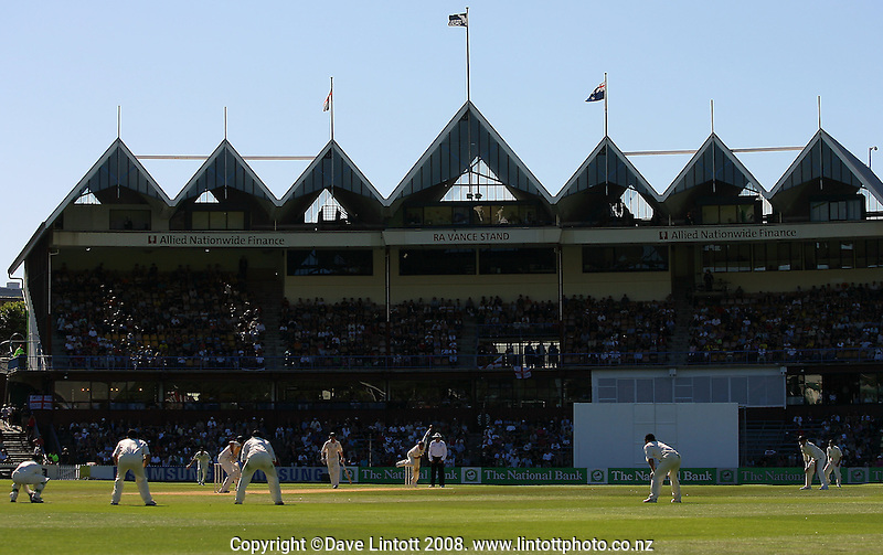A general view of the Vance Stand. National Bank Test Match Series, New Zealand v England, 2nd Test at Allied Prime Basin Reserve, Wellington, New Zealand. Day 3. Saturday, 15 March 2008. Photo: Dave Lintott / lintottphoto.co.nz