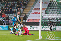 Plymouth defenders watch as Amari'i Bell of Fleetwood Town scores his side's second goal during the Sky Bet League 1 match between Plymouth Argyle and Fleetwood Town at Home Park, Plymouth, England on 7 October 2017. Photo by Mark  Hawkins / PRiME Media Images.
