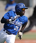 Western Nevada Wildcat's Donald Glover Jr. runs down the first base line in a college baseball game against Colorado Northwestern in Carson City, Nev., on Sunday, March 10, 2013. WNC swept the weekend series 4-0. .Photo by Cathleen Allison/Nevada Photo Source