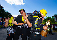 May 6, 2018; Commerce, GA, USA; NHRA top fuel driver Leah Pritchett celebrates with her crew after winning the Southern Nationals at Atlanta Dragway. Mandatory Credit: Mark J. Rebilas-USA TODAY Sports
