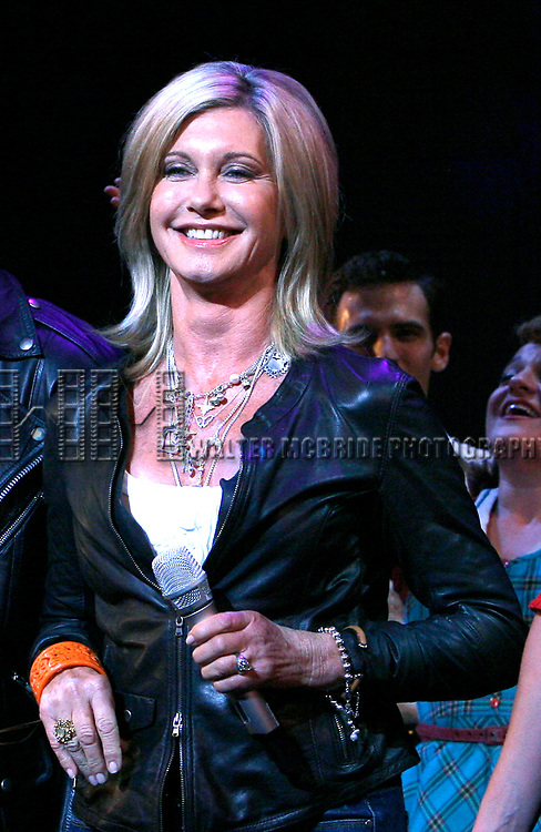 Olivia Newton-John is headed back to Rydell High to promote Breast Cancer Awareness after the Curtain Call for GREASE at the Brooks Atkinsoon Yheatre in New York City. <br />October 7, 2008