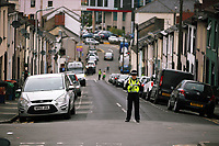 Pictured: A police cordon at West Street, Newport, south Wales, UK. Wednesday 20 September 2017<br />Re: Two men have been arrested in south Wales over Friday's terror attack on a London Underground train, bringing the total number held to five.<br />Two men, one 48 and the other 30 were detained under the Terrorism Act in the early hours, after a search at an address in Newport.<br />Police are still searching there, and at a second address in Newport.<br />Thirty people were injured when a homemade bomb partially exploded on a rush-hour Tube train at Parsons Green in south-west London.