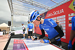 Gazprom&ndash;Rusvelo at sign on before the start of Stage 4 of Il Giro di Sicilia 2019 running 119km from Giardini Naxos to Mount Etna (Nicolosi), Italy. 6th April 2019.<br /> Picture: LaPresse/Massimo Paolone | Cyclefile<br /> <br /> All photos usage must carry mandatory copyright credit (&copy; Cyclefile | LaPresse/Massimo Paolone)