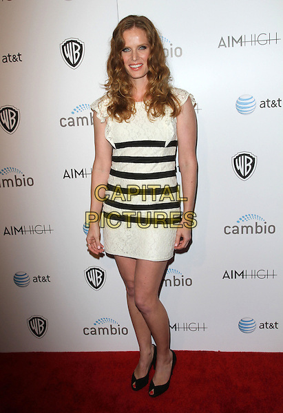 """Rebecca Mader.""""Aim High"""" Los Angeles Premiere held at Trousdale, West Hollywood, California, USA..October 18th, 2011.full length black white striped stripes dress peep toe shoes lace .CAP/ADM/KB.©Kevan Brooks/AdMedia/Capital Pictures."""