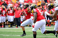 College Park, MD - SEPT 22, 2018: Maryland Terrapins linebacker Tre Watson (33) returns an interception for a touchdown during game between Maryland and Minnesota at Capital One Field at Maryland Stadium in College Park, MD. The Terrapins defeated the Golden Bears 42-13 to move to 3-1 on the season. (Photo by Phil Peters/Media Images International)