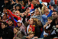 Serbia fans celebrate during the FIFA Under-20 Football World Cup Final between Brazil (gold) and Serbia at North Harbour Stadium, Albany, New Zealand on Saturday, 20 June 2015. Photo: Dave Lintott / lintottphoto.co.nz