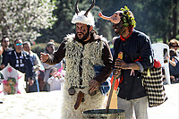 Pictured: Two men dressed in costumes during the Bourani celebrations in Tirnavos, central Greece. Monday 11 March 2019<br /> Re: Bourani (or Burani) the infamous annual carnival which dates to 1898 which takes place on the day of (Clean Monday), the first days of Lent in Tirnavos, central Greece, in which men hold phallus shaped objects as scepters in their hands.