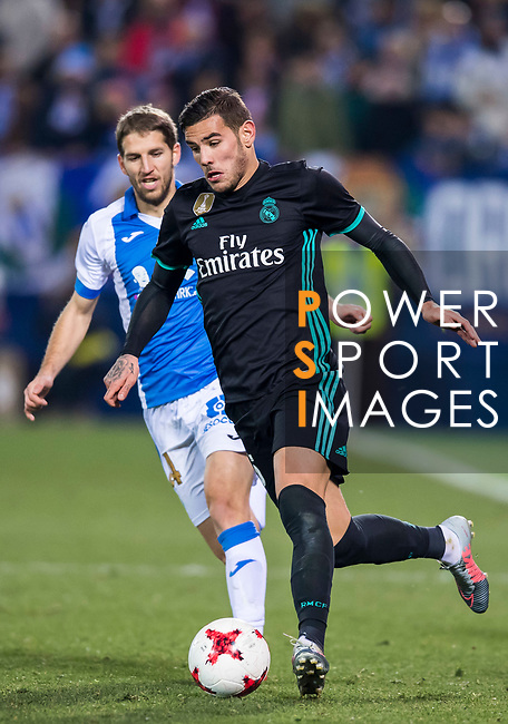 Theo Hernandez (R) of Real Madrid battles for the ball with Darko Brasanac of CD Leganes during the Copa del Rey 2017-18 match between CD Leganes and Real Madrid at Estadio Municipal Butarque on 18 January 2018 in Leganes, Spain. Photo by Diego Gonzalez / Power Sport Images