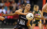 26.07.2015 Silver Ferns Grace Rasmussen in action during the Silver Fern v South Africa netball test match played at Claudelands Arena in Hamilton. Mandatory Photo Credit ©Michael Bradley.