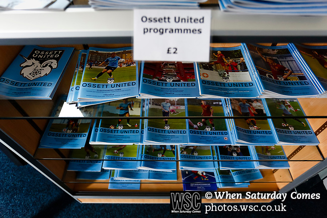 Programmes in the Onset United club shop. Yorkshire v Parishes of Jersey, CONIFA Heritage Cup, Ingfield Stadium, Ossett. Yorkshire's first competitive game. The Yorkshire International Football Association was formed in 2017 and accepted by CONIFA in 2018. Their first competative fixture saw them host Parishes of Jersey in the Heritage Cup at Ingfield stadium in Ossett. Yorkshire won 1-0 with a 93 minute goal in front of 521 people. Photo by Paul Thompson