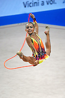 Ksenya Cheldishkina (junior) of Belarus performs with rope at 2010 Pesaro World Cup on August 27, 2010 at Pesaro, Italy.  Photo by Tom Theobald.