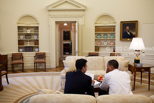 President Barack Obama meets with OMB Director Peter R. Orszag in the  Oval Office 1/26/09..Mandatory Credit: Pete Souza - White House via CNP