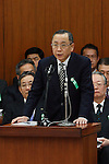 March 27, 2012, Tokyo, Japan - Kazuhiko Asakawa, president of AIJ Investment Advisor Co., speaks during a committee at the Lower house of parliament in Tokyo on Tuesday, March 27, 2012. Asakawa admits that he gave the order to falsify investment results in his first public comments since his firm was suspected of losing more than $1 billion. (Photo by Motoo Naka/AFLO)