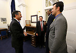 Nevada Gov. Brian Sandoval, left, congratulates Assemblymen PK O'Neill, Harvey Munford and Stephen Silberkraus after the end of session at the Legislative Building in Carson City, Nev., on Tuesday, June 2, 2015. <br /> Photo by Cathleen Allison