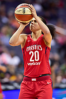 Washington, DC - June 3, 2018: Washington Mystics guard Kristi Toliver (20) shoots a shot during game between the Washington Mystics and Connecticut Sun at the Capital One Arena in Washington, DC. (Photo by Phil Peters/Media Images International)