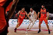 25th March 2018, Madrid, Spain; Endesa Basketball League, Real Madrid versus Valencia; Fernando San Emeterio (Valencia Basket) brings the ball foward past Rudy Fernandez (Real Madrid Baloncesto), Bojan Dubljevic (Valencia Basket)