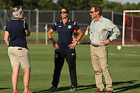 Piscataway, NJ - Saturday July 23, 2016: Denise Reddy, Jim Gabarra prior to a regular season National Women's Soccer League (NWSL) match between Sky Blue FC and the Washington Spirit at Yurcak Field.