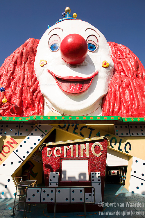 The carnival ride Domino ready for riders at the Praterswein in Vienna, Austria.