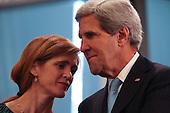 United States Ambassador to the United Nations Samantha Power, left, speaks with U.S. Secretary of State John Kerry, right, as U.S. President Barack Obama and President Michel Suleiman of Lebanon meet after Obama addressed the 68th United Nations General Assembly in New York, New York on Tuesday, September 24, 2013.<br /> Credit: Allan Tannenbaum / Pool via CNP