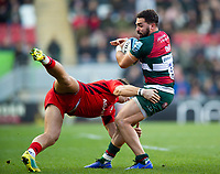 Gareth Owen of Leicester Tigers is tackled by Alex Lewington of Saracens. Gallagher Premiership match, between Leicester Tigers and Saracens on November 25, 2018 at Welford Road in Leicester, England. Photo by: Patrick Khachfe / JMP