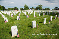 65095-01706 Flags on Memorial Day at Jefferson Barracks National Cemetery, St Louis, MO