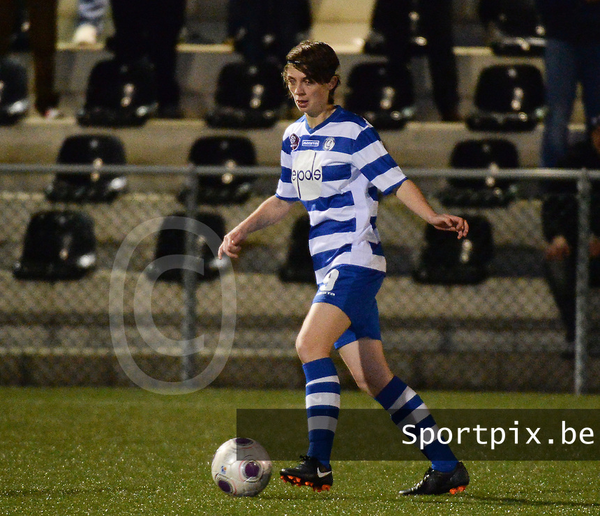 20140221 - OOSTAKKER , BELGIUM : Gent Evelien Van Sinay pictured during the soccer match between the women teams of AA Gent Ladies  and RAFC Antwerp Ladies , on the 19th matchday of the BeNeleague competition Friday 21 February 2014 in Oostakker. PHOTO DAVID CATRY