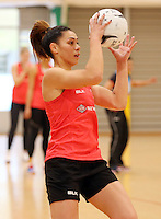 24.08.2016 Silver Ferns Grace Rasmussen in action during the Silver Ferns Training in Auckland. Mandatory Photo Credit ©Michael Bradley.