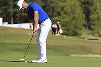Lucas Bjerregaard (DEN) birdie putt on the 17th green during Sunday's Final Round 4 of the 2018 Omega European Masters, held at the Golf Club Crans-Sur-Sierre, Crans Montana, Switzerland. 9th September 2018.<br /> Picture: Eoin Clarke | Golffile<br /> <br /> <br /> All photos usage must carry mandatory copyright credit (© Golffile | Eoin Clarke)