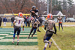 ANSONIA, CT. 02 December 2018-120218 - Ansonia's Jalen Johnson #10 scores a touchdown on top of the shoulders of Bloomfield's Michael Raiford #6, very late in the fourth quarter during the Class S Semi-final game between Bloomfield and Ansonia at Ansonia High School in Ansonia on Sunday. Bloomfield held on to beat Ansonia 26-19 and advances to the Class S Championship game next week. Bill Shettle Republican-American
