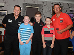 Keane Barry, Tiernan Barron and David Andrews pictured with 5 times Embassy World Professional Darts Champion and 5 times world masters winner Eric Bristow with 1 time Embassy World Professional Darts Champion Keith Deller at the Morning Star in Tullyallen. Photo:Colin Bell/pressphotos.ie