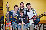 "REHEARSING: Rehearsing before taking to the stage on Sunday at the Battle of the Bands competition in The Brandon Hotel, Tralee, were the the Band ""3mins and im Done"" Jake Sweeney, Andrew O'Callaghan, Kenneth Costello and Shane Walsh.."