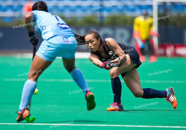 03/07/2015<br /> HWL Semi Final Antwerp Belgium 2015<br /> Japan v India Women<br /> Shihori Oikawa<br /> Photo: Grant Treeby